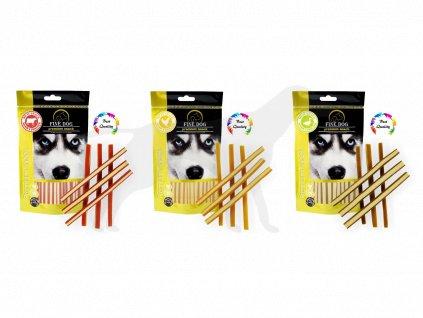Triopack pamlsek Fine Dog Hovězí, Kuřecí, Kachní stripsy 3 x 80 g