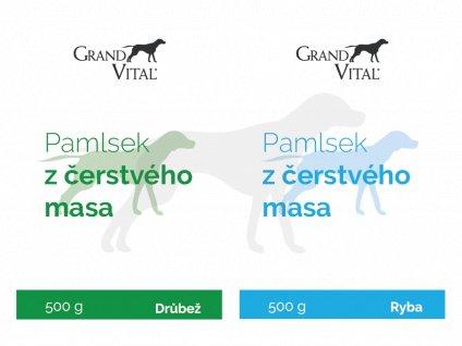 Pamlsek GRAND VITAL Trénink DUOPACK Ryba / Drůbež 2x 500 g pro psy a kočky