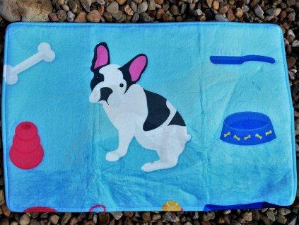 Podložka Royal Taste Francouzský buldoček štěně 40 x 60 cm modrá