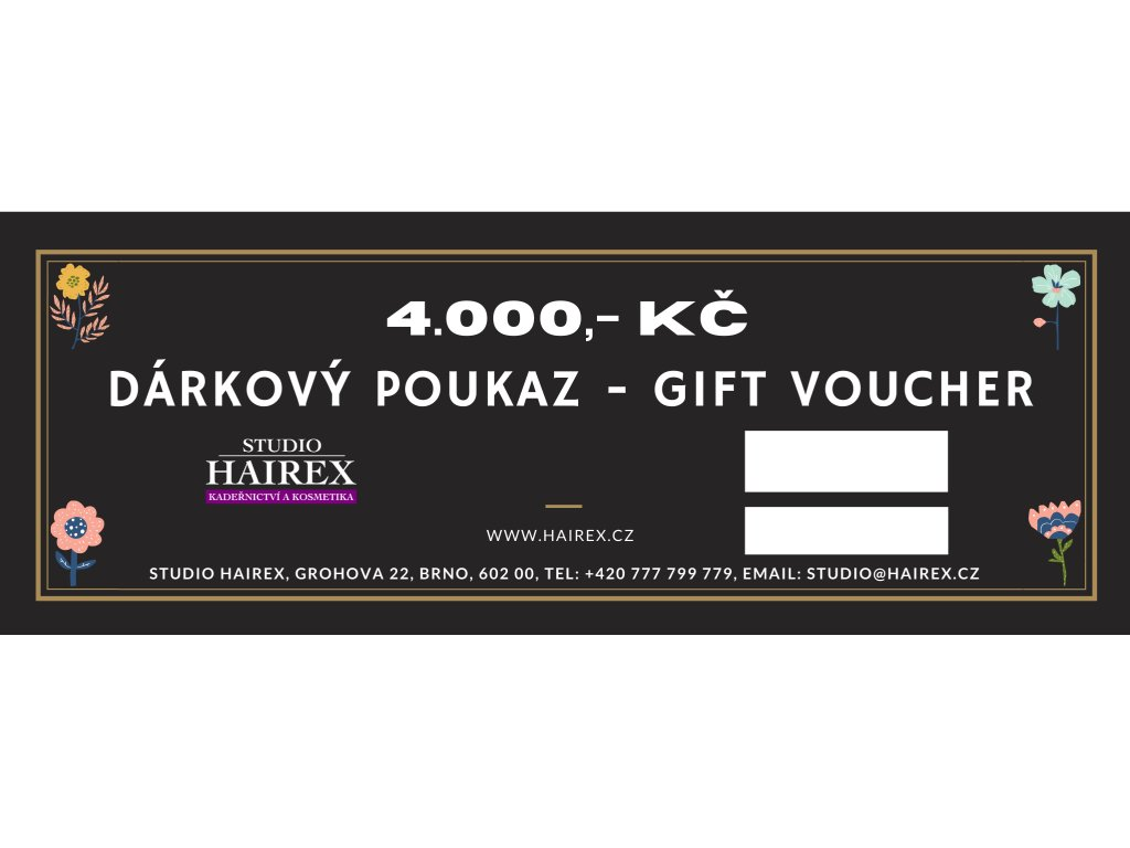 Dárkový poukaz do studia Hairex 4000Kč