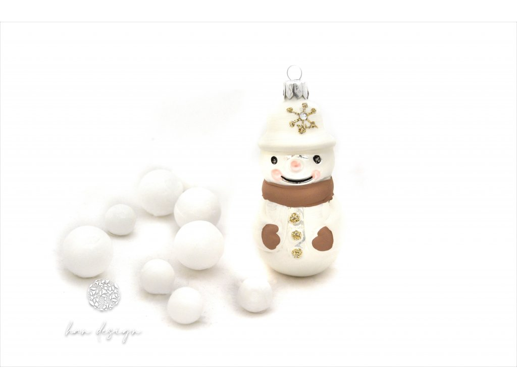 717 sněhulák se šálou bílý porcelán 32