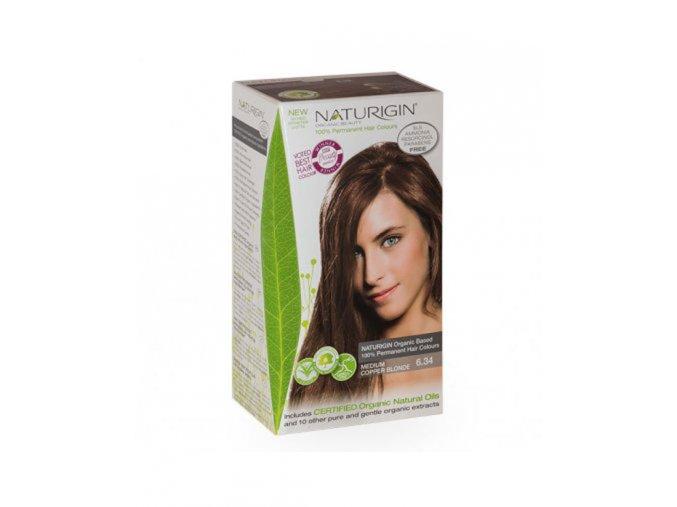 tmavý blond sse zlatými a červenými odlesky NATURIGIN Medium Copper Blonde 6.34