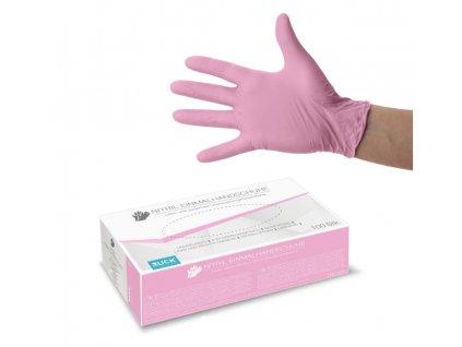 nitrilové rukavice růžové