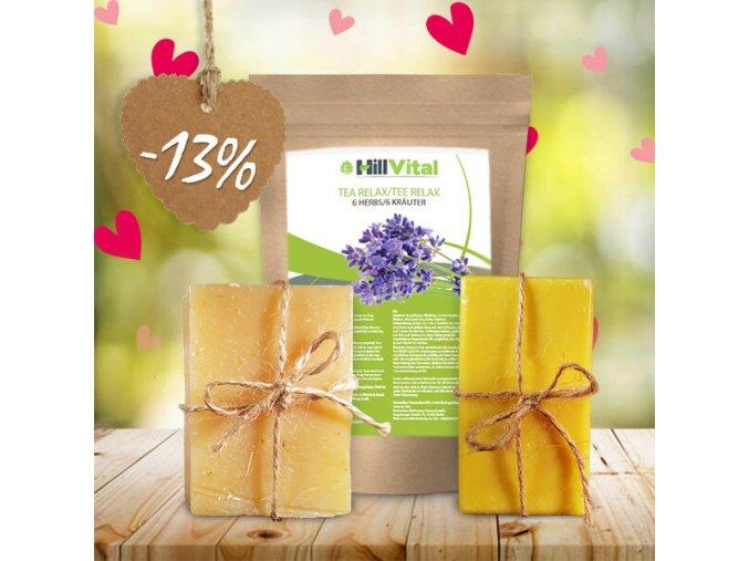 hillvital prirodne produkty relaxacny balicek caj relax mydlo s bambuckym maslom medove mydlo sk