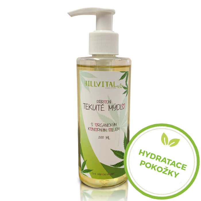HillVital | Prírodné tekuté mydlo s organickým konopným olejom, 200 ml