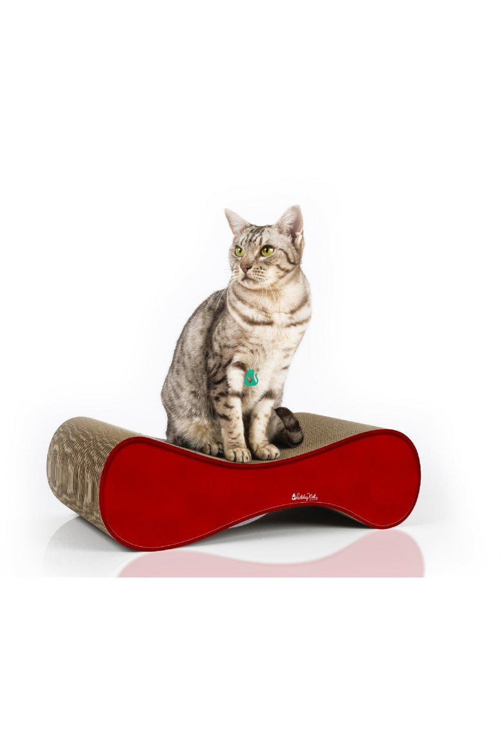 La Ver, velikost S, ČERVENÉ, pevné kartonové škrabadlo pro kočky