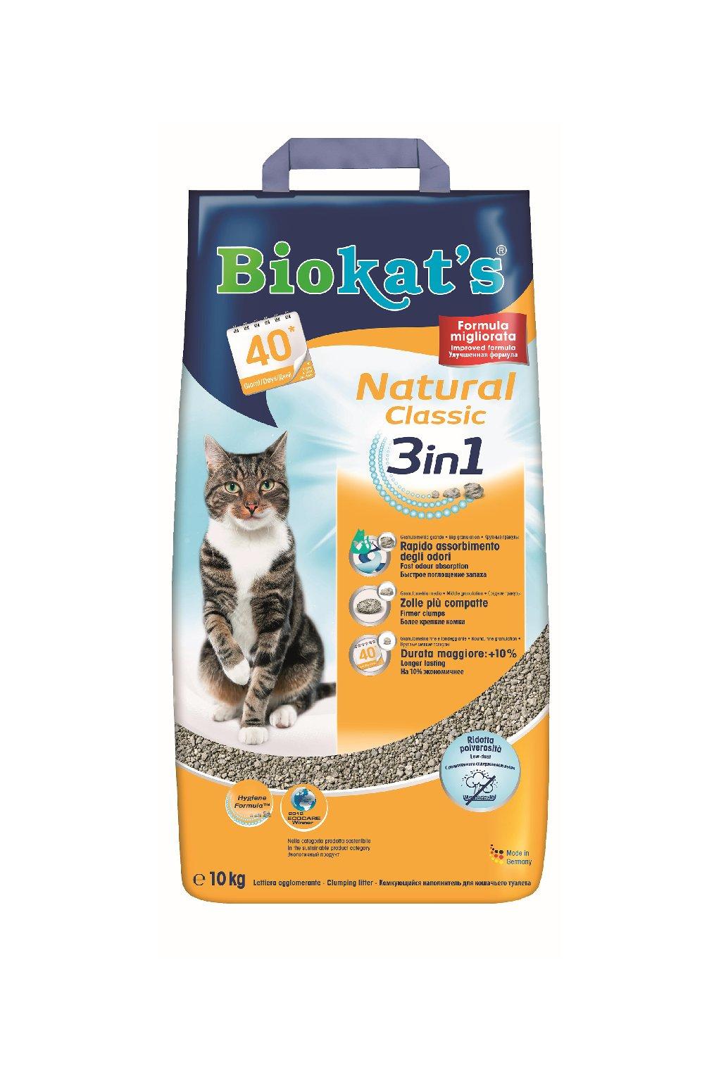 Podestýlka BIOKAT's Natural Classic 3in1, hrubší zrno
