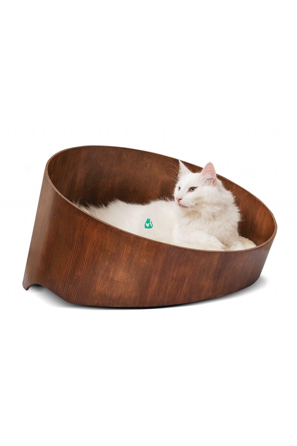 Designový pelíšek ze dřeva - HolidayCat Moggy, průměr 60cm