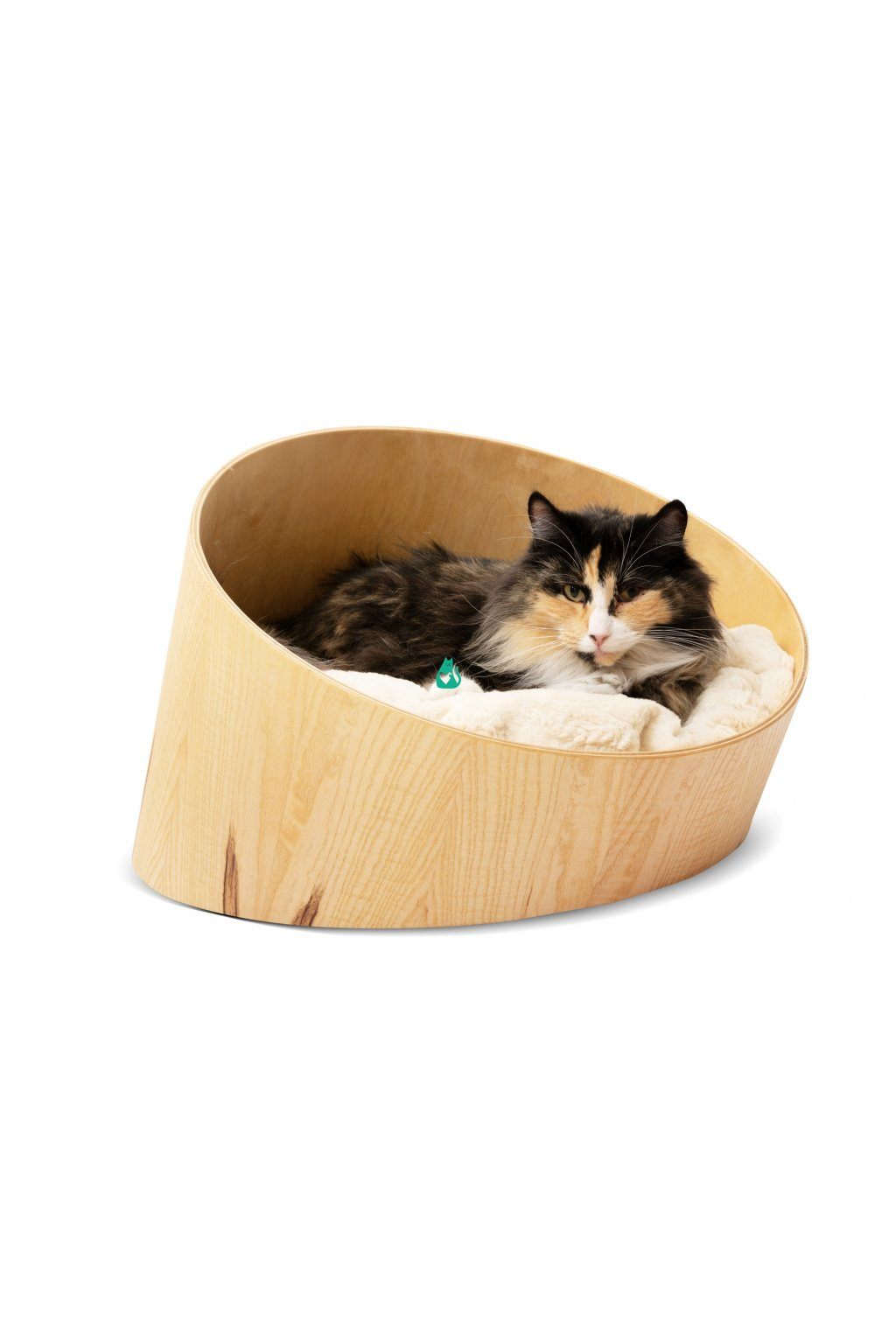 Designový pelíšek ze dřeva - HolidayCat Moggy, SVĚTLÝ, průměr 45cm