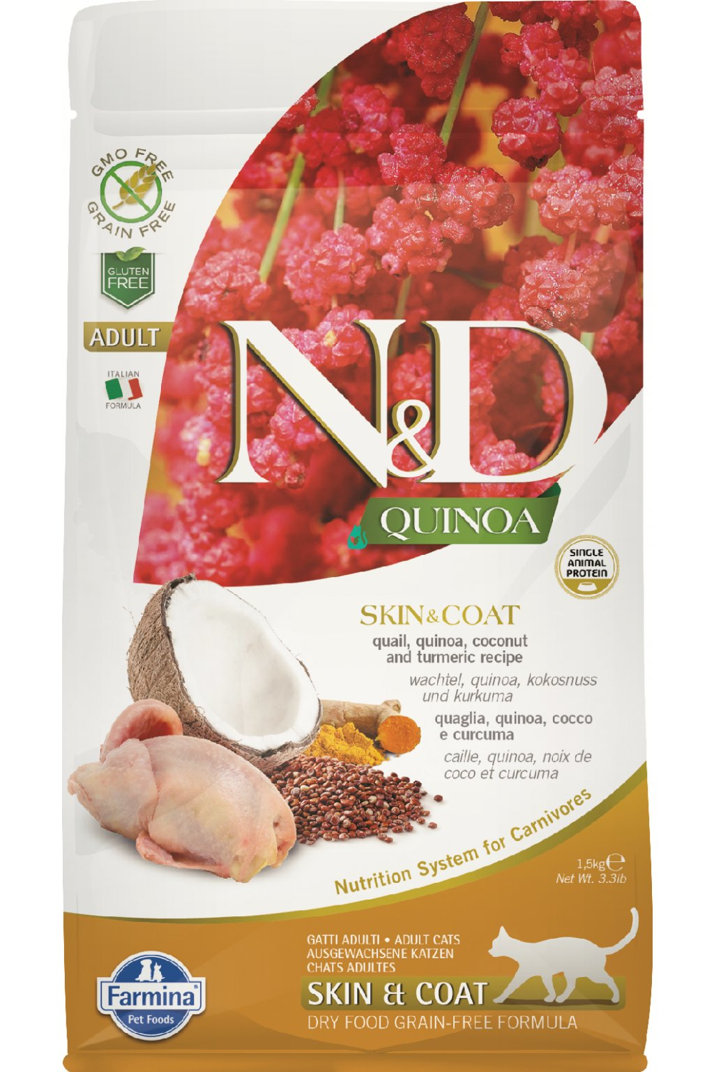 ND organic Quinoa 1,5kg Adult Cat SKIN&COAT QUAIL PGN 50%