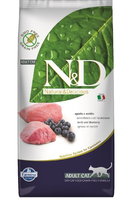 N&D Grain free CAT dry Adult - Jehně a borůvky