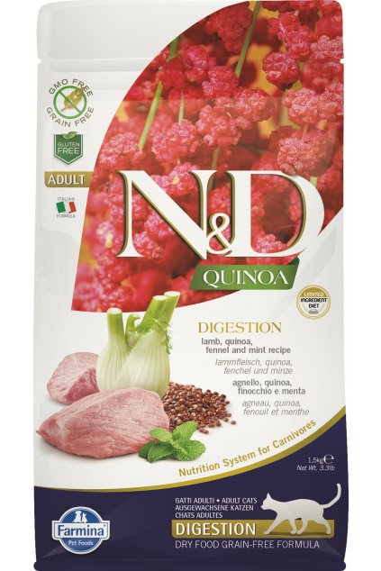 ND organic Quinoa 1,5kg Adult Cat DIGESTION LAMB, netransparent