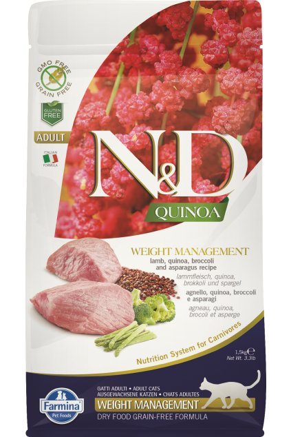 ND organic Quinoa 1,5kg Adult Cat WEIGHT MANAGEMENT LAMB netransparent