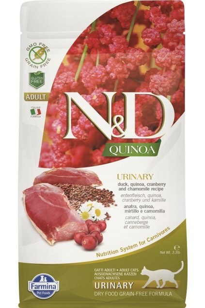 ND organic Quinoa 1,5kg Adult Cat URINARY DUCK [3D Front]@print 28% velikosti