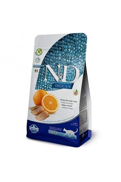 N&D Grain free CAT Adult - Sleď, pomeranč a dýně