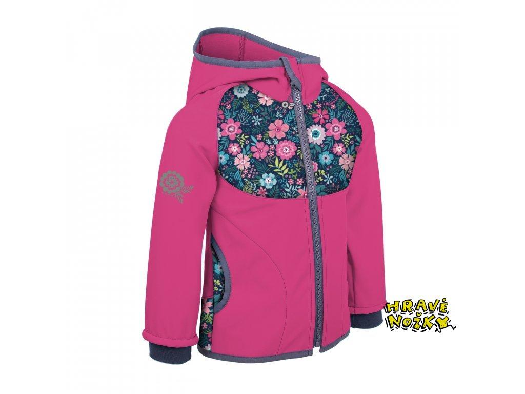 9660 11 unuo softshellova bunda s fleecem kvetinky fuchsiova fleece softshell jacket flowers fuchsia