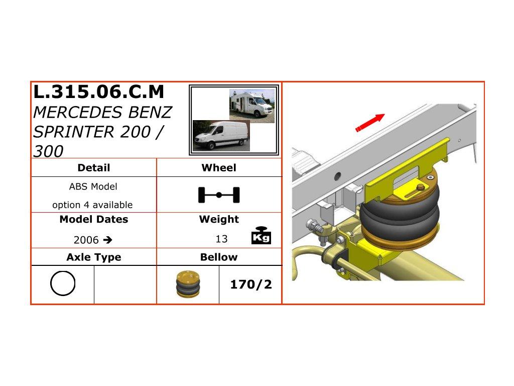 Dunlop vzduchové pérování na Mercedes Benz Sprinter 200/300   2006-