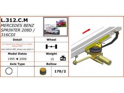 Vzduchové pérování na Marcedes Benz Sprinter 208D/316CDI    1995-2006