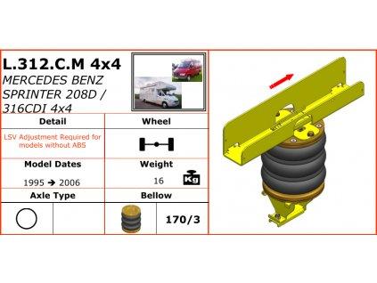 Dunlop vzduchové pérování na Mercedes Benz Sprinter 208D/316CDI 4X4   1995-2006