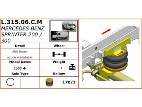 Vzduchové pérování Dunlop na Mercedes Benz Sprinter 200/300   2006-