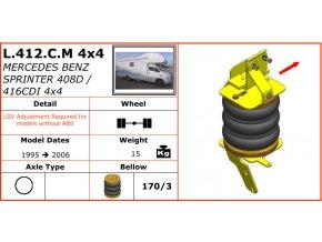 Vzduchové pérování Dunlop na Mercedes Benz Sprinter 408D/416CDI 4X4   1995-2006