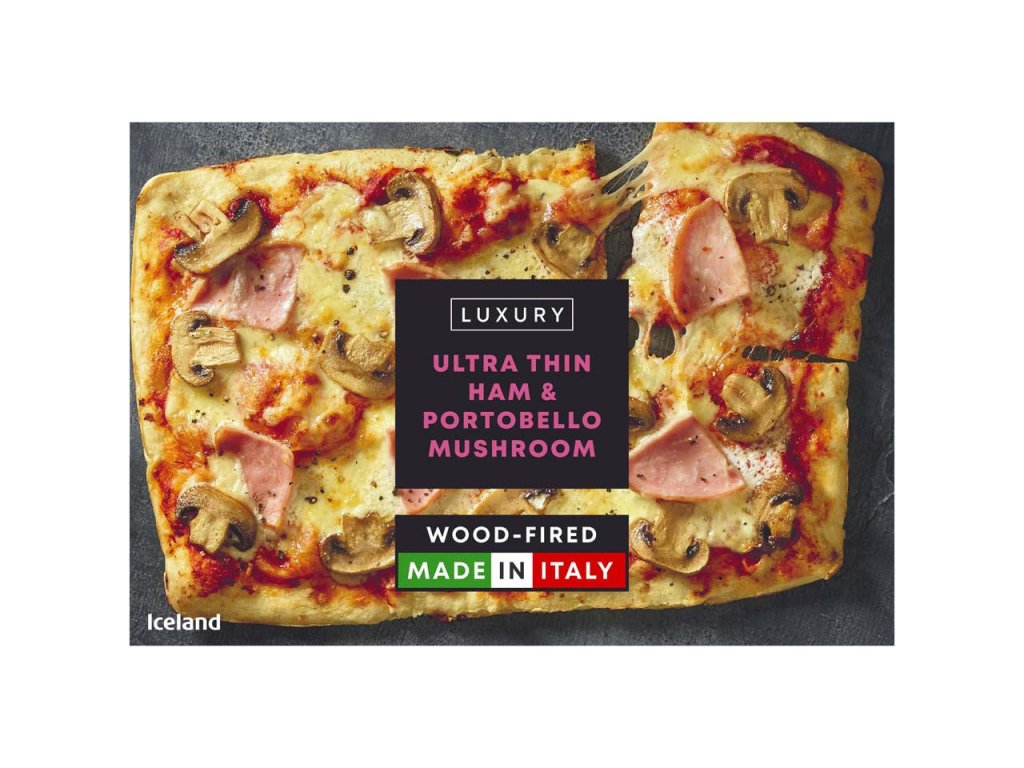 iceland luxury ultra thin ham portabello mushroom pizza 401g 73865