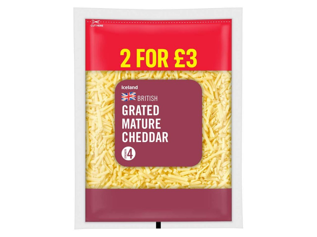 iceland grated mature cheddar 250g 53724
