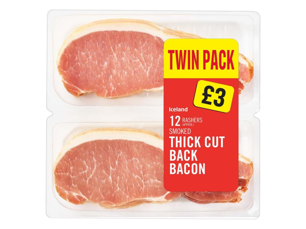 iceland 12 rashers approx smoked thick cut back bacon 500g 79708