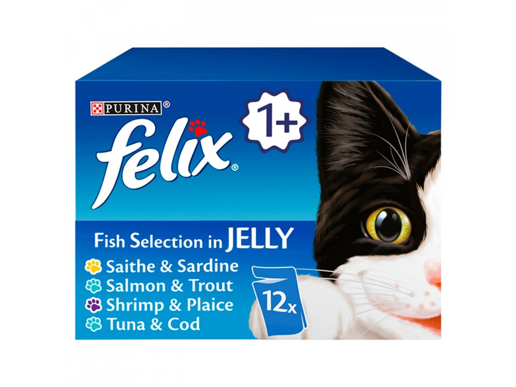 felix fish selection in jelly wet cat food 12 x 100g 30405 T517