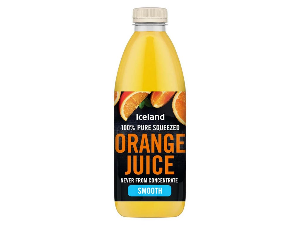 iceland smooth 100 pure squeezed orange juice never from concentrate 1l 64569