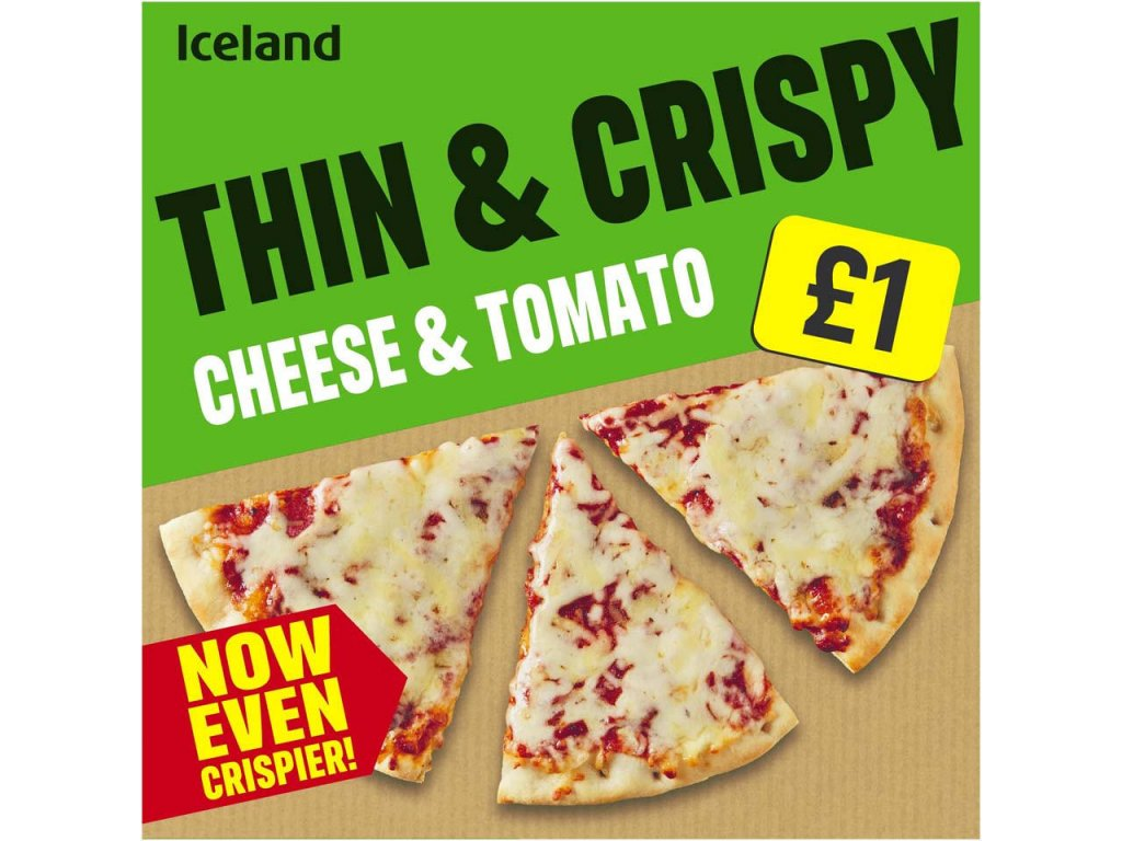 iceland thin and crispy cheese and tomato pizza 302g 85685