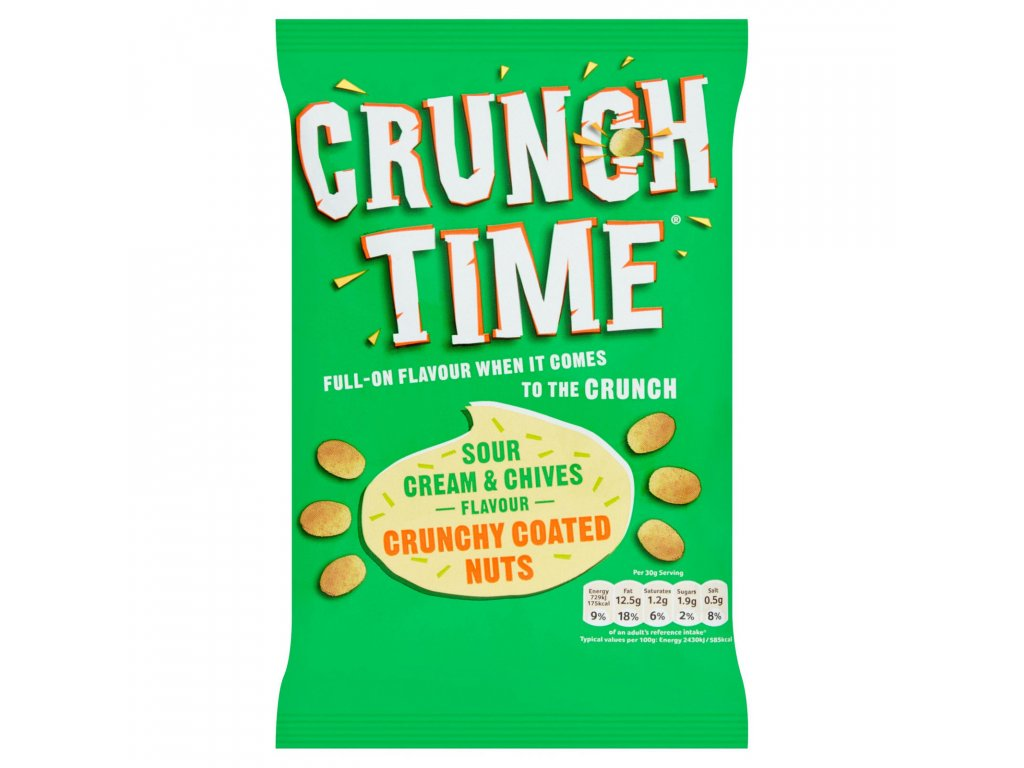 crunch time sour cream chives flavour crunchy coated nuts 120g 82227 T1
