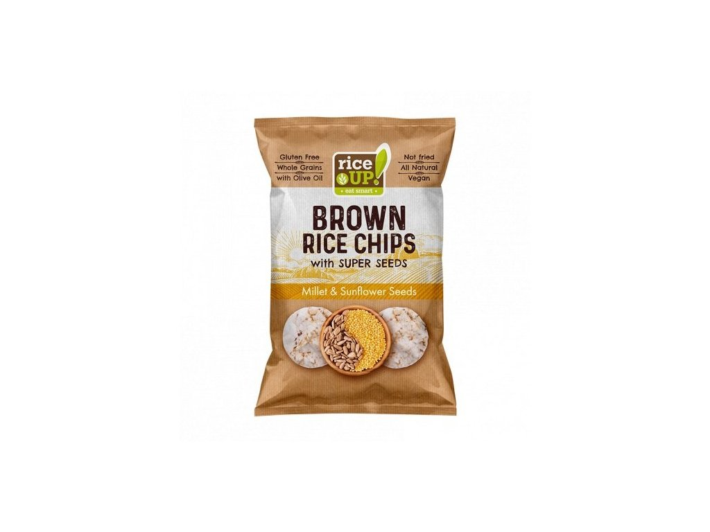 10166 rice up brown rice chips superseeds millet sunflower seeds 60g mock up s