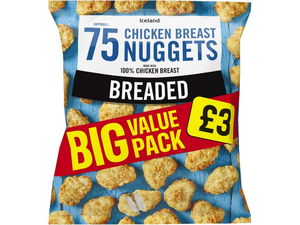 iceland 75 approx breaded chicken breast nuggets 105kg 63280