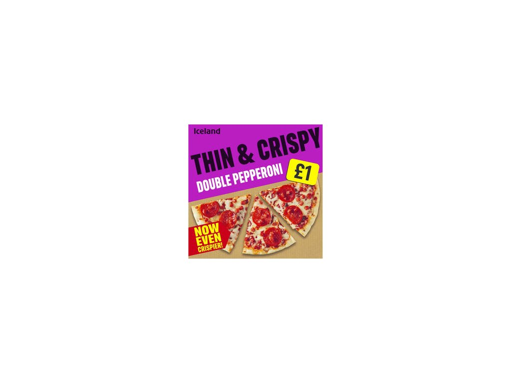 iceland thin and crispy double pepperoni pizza 334g 85684
