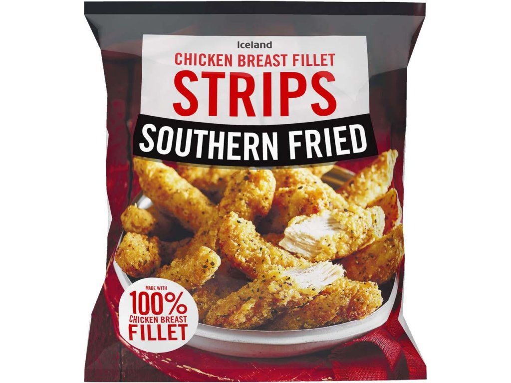 iceland southern fried chicken breast fillet strips 600g 66805