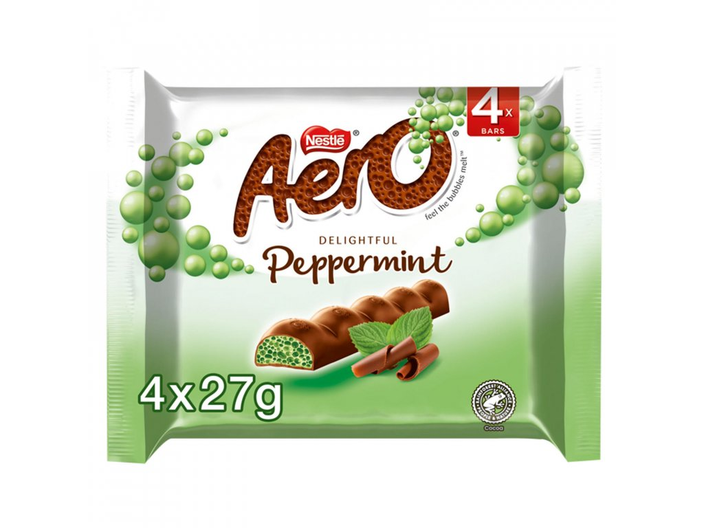 aero bubbly peppermint mint chocolate bar multipack 4 pack 4 x 27g 62969 T596