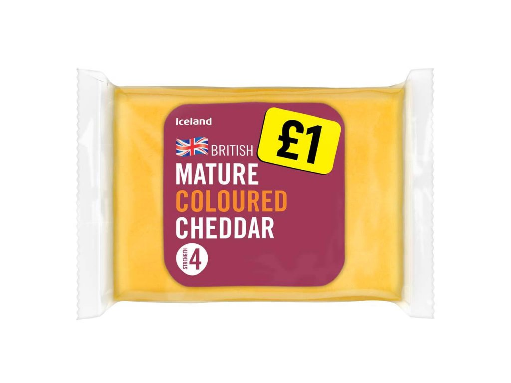 iceland british coloured mature cheddar cheese 180g 58469