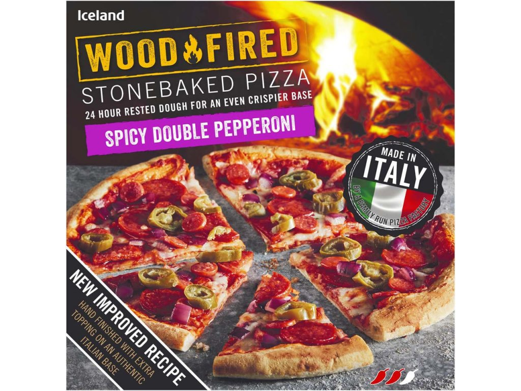 iceland spicy double pepperoni stonebaked pizza 379g 81274