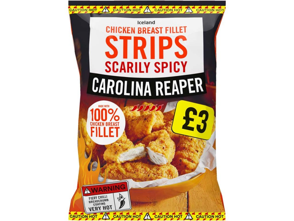 iceland scarily spicy carolina reaper chicken breast fillet strips 540g 77356