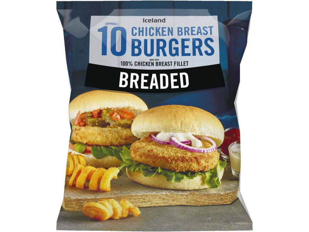 iceland 10 approx breaded chicken breast burgers 550g 83919