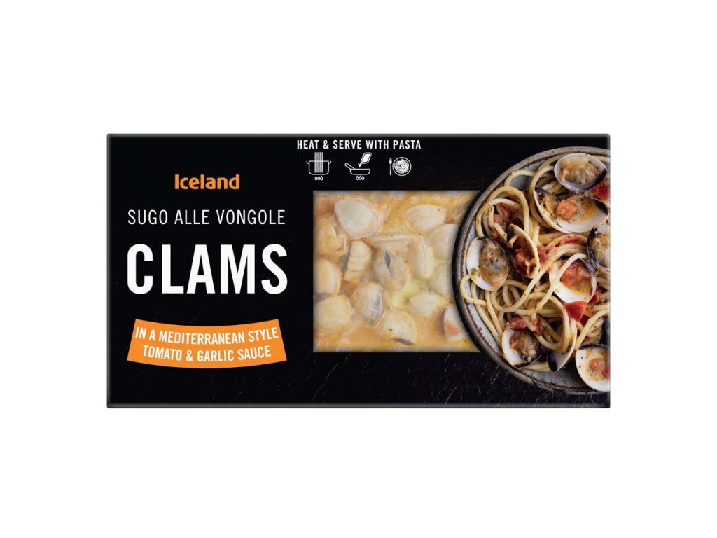 iceland clams in a mediterranean style tomato and garlic sauce 450g 64263