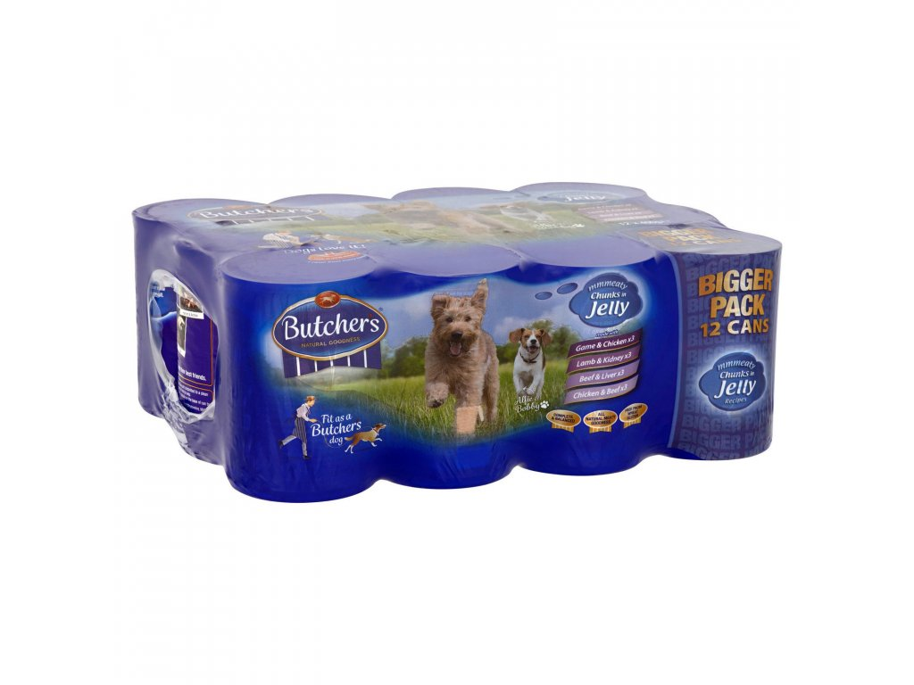 butchers meaty chunks in jelly dog food tins 12 x 400g 78311 T1
