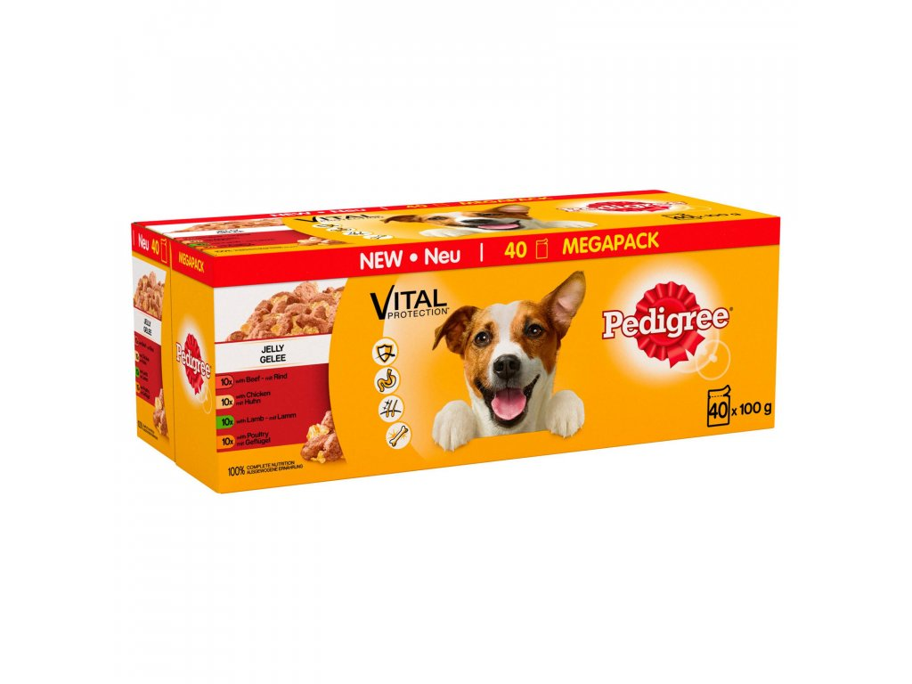 pedigree wet dog food pouches mixed variety in jelly 40 x 100g 72288 T1