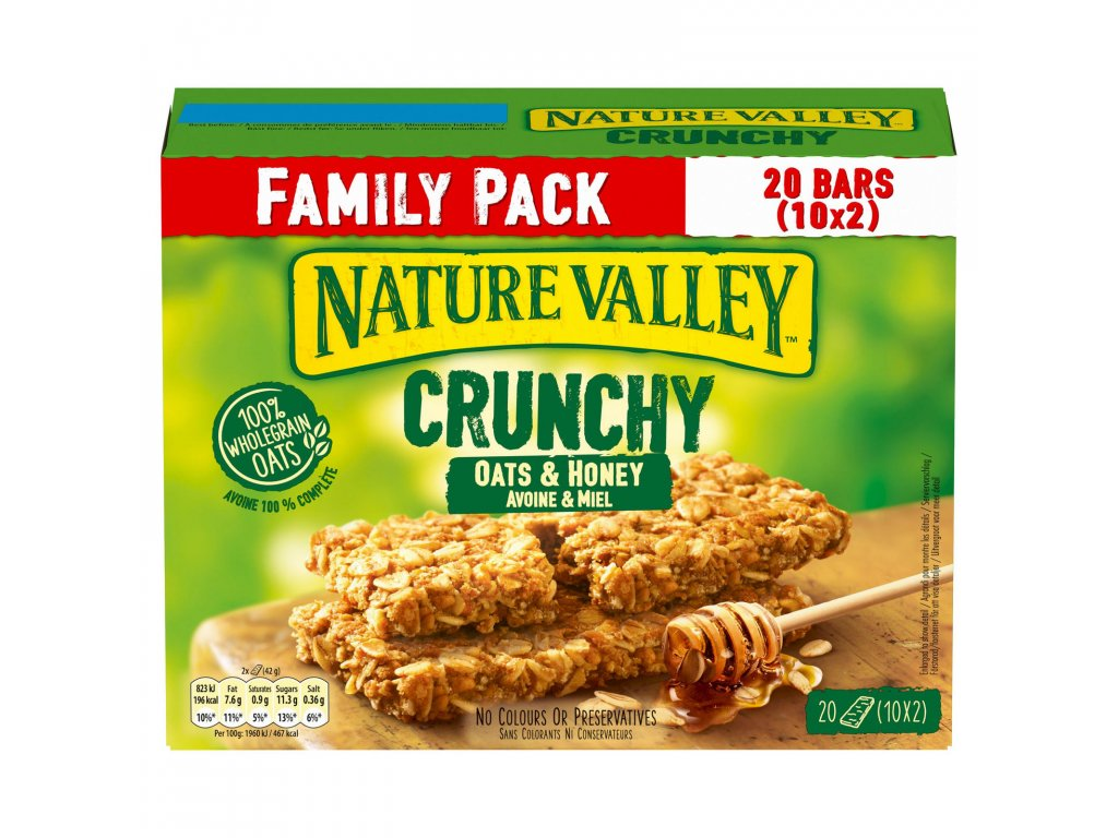 nature valley crunchy oats honey family pack cereal bars 10 x 42g 420g 79152 T5