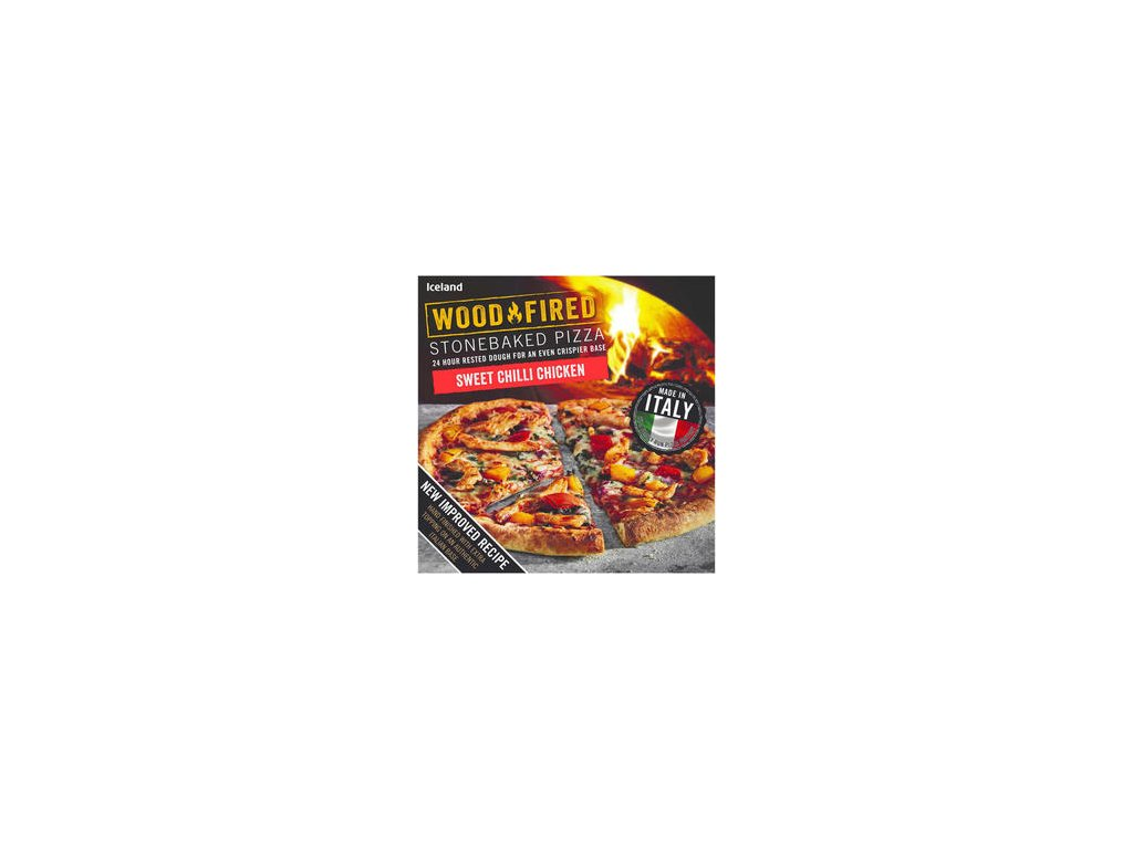 iceland sweet chilli chicken stonebaked pizza 428g 81275