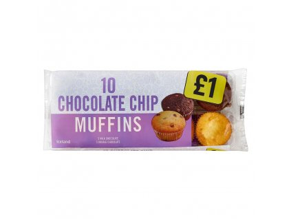 iceland chocolate chip snack muffins 10 pack 65761