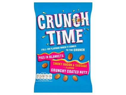 crunch time pigs in blankets smoky bacon sausage flavour crunchy coated nuts 120g 82225 T1
