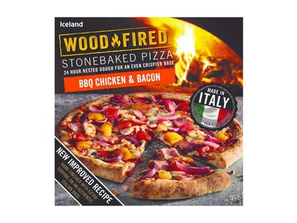 iceland bbq chicken bacon stonebaked pizza 389g 81273