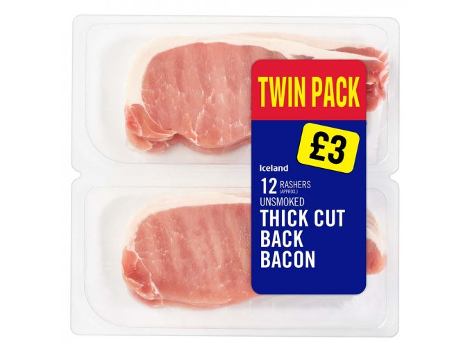 iceland 12 rashers approx unsmoked thick cut back bacon 500g 79709
